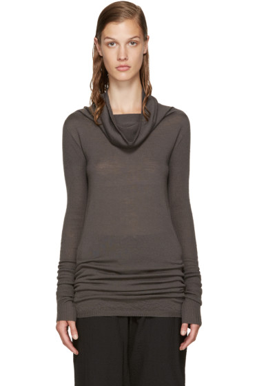 Rick Owens - Grey Funnel Neck Pullover