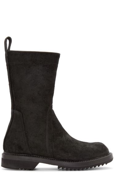Rick Owens - Black Suede Creeper Mid-Calf Boots