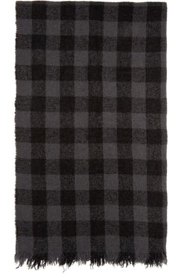 Rick Owens - Grey & Black Diagonal Mega Scarf