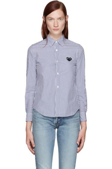 Comme des Garçons Play - Blue & White Striped Heart Shirt