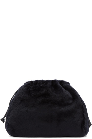 Jil Sander - Navy Shearling Drawstring Clutch