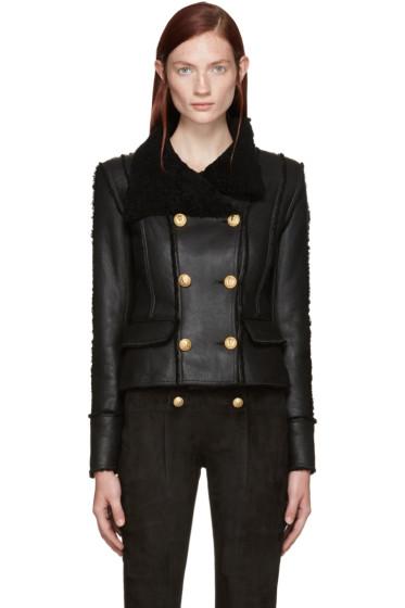 Balmain - Black Shearling Jacket