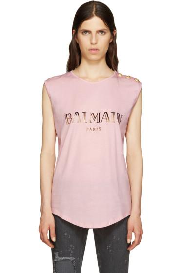 Balmain - Pink Logo T-Shirt