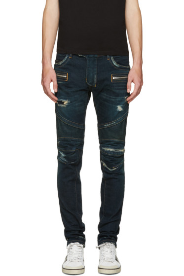 Balmain - Blue Washed Biker Jeans