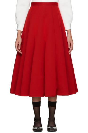 Junya Watanabe - Red Neoprene Pleated Skirt