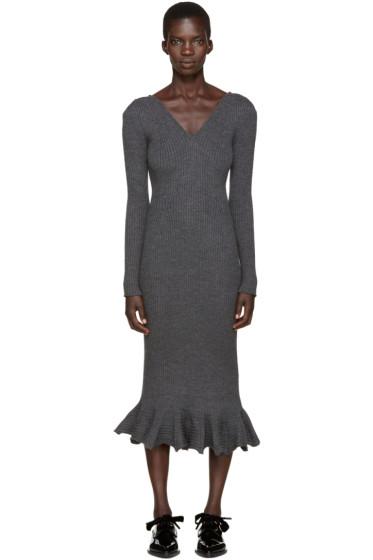 Lanvin - Grey Wool Frill Dress