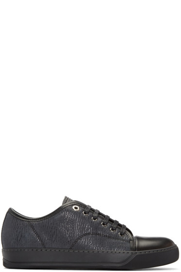 Lanvin - Black Textured Leather Sneakers