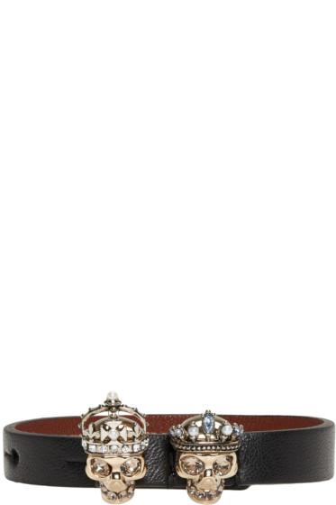 Alexander McQueen - Black King & Queen Skull Bracelet