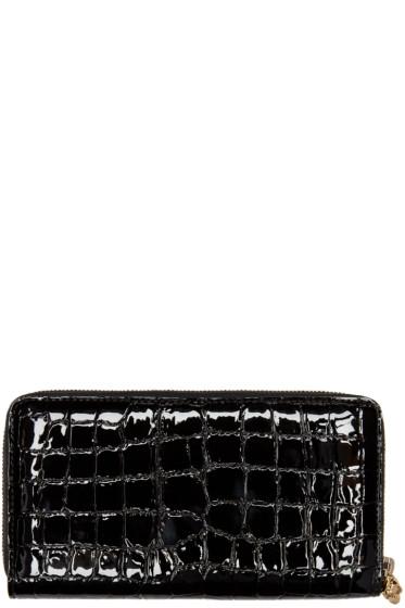 Alexander McQueen - Black Croc-Embossed Wallet