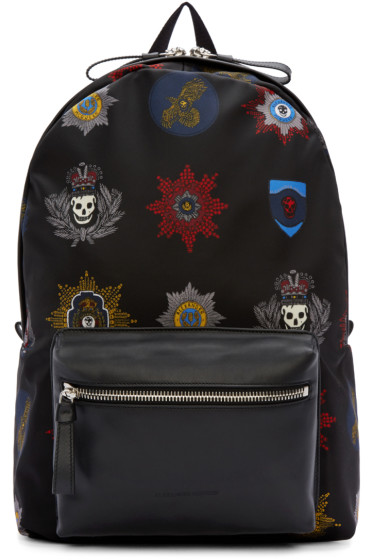 Alexander McQueen - Black Nylon Badges Backpack