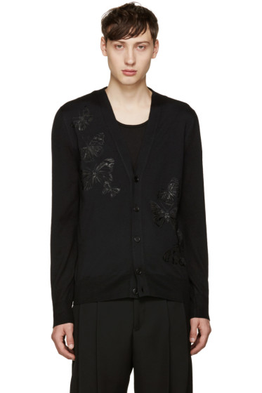 Alexander McQueen - Black Embroidered Butterflies Cardigan