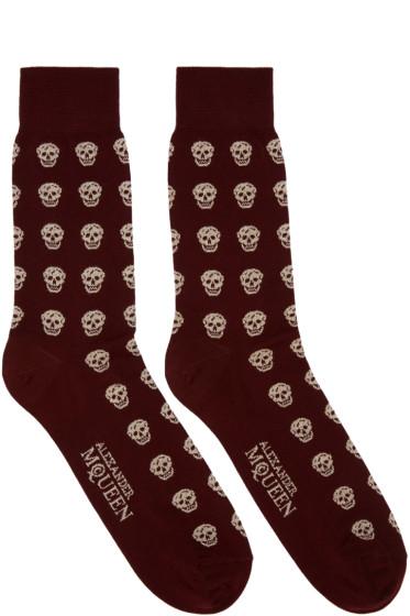 Alexander McQueen - Burgundy & Gold Metallic Skulls Socks