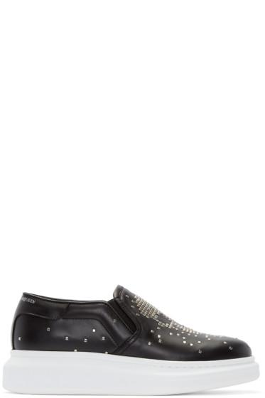 Alexander McQueen - Black Studded Skull Slip-On