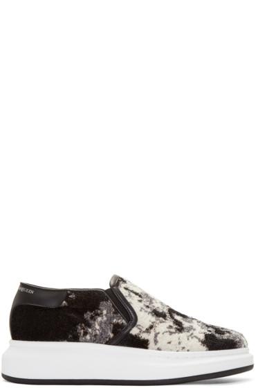 Alexander McQueen - Black Floral Jacquard Slip-On Sneakers