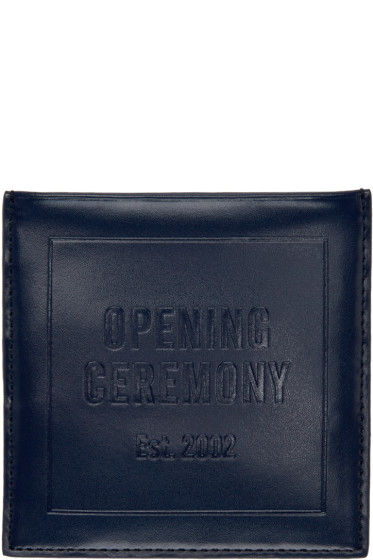 Opening Ceremony - Navy Leather Square Card Holder