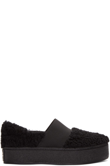 Opening Ceremony - Black Shearling Cici Slip-On Sneakers