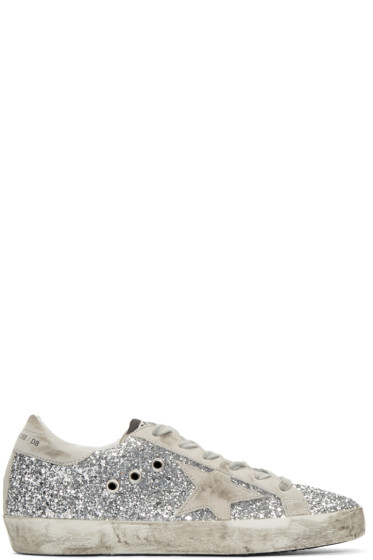 Golden Goose - Silver Glitter Superstar Sneakers