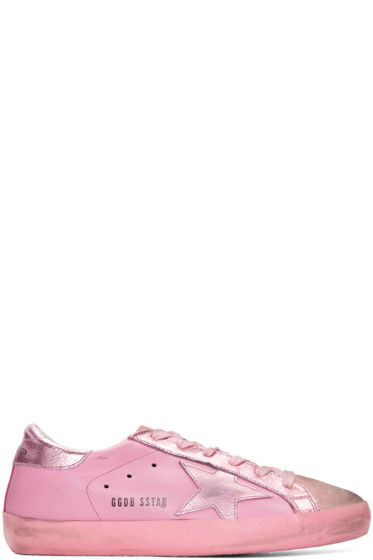 Golden Goose - Pink Mononochromatic Superstar Sneakers
