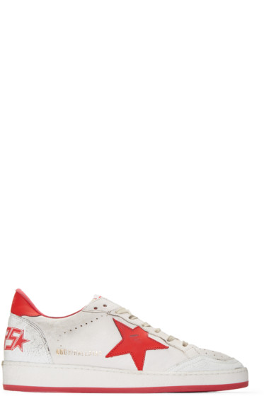 Golden Goose - White & Red Ball Star Sneakers