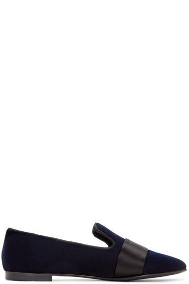 Giuseppe Zanotti - Navy Velvet Loafers
