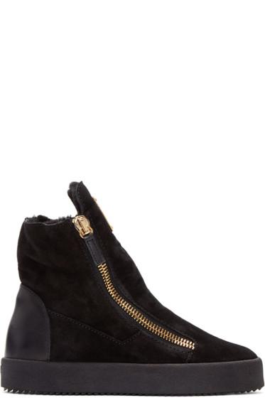 Giuseppe Zanotti - Black Suede London High-Top Sneakers