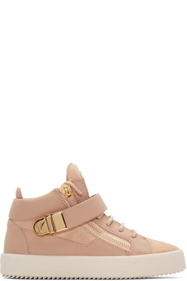 Giuseppe Zanotti - Pink Matte Mid-Top Sneakers