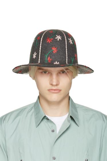 Comme des Garçons Shirt - Grey Embroidered Hat