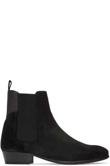 H by Hudson - Black Suede Watts Chelsea Boots