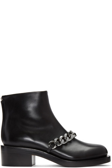 Givenchy - Black Leather Chain Boots