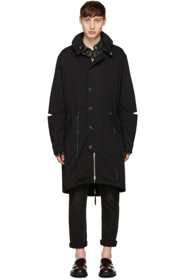 3.1 Phillip Lim - Black Cut-Out & Mesh Parka
