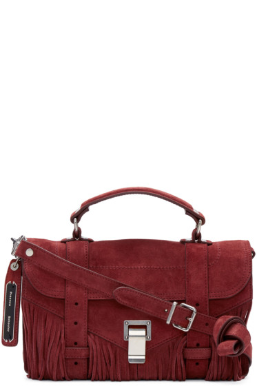 Proenza Schouler - Red Suede Fringed Tiny PS1 Satchel