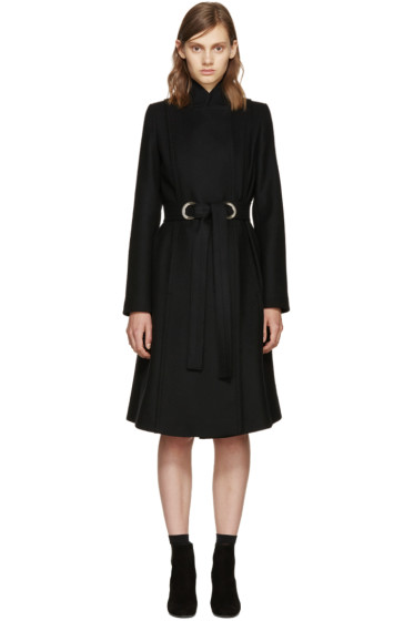 Proenza Schouler - Black Wool Belted Coat
