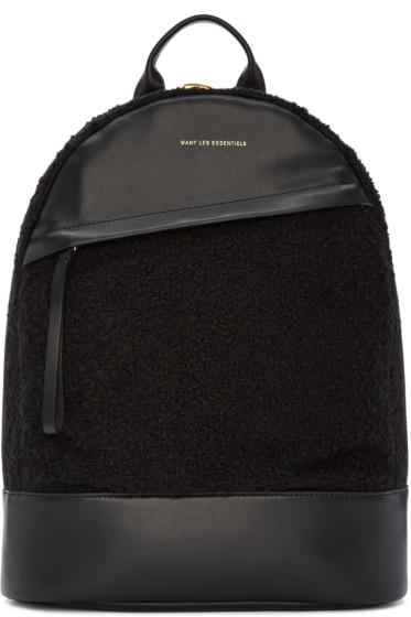 Want Les Essentiels - Black Bouclé Piper Backpack