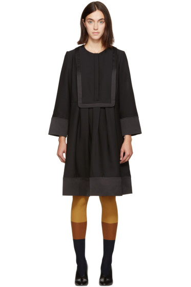 Carven - Black Bib Front Dress
