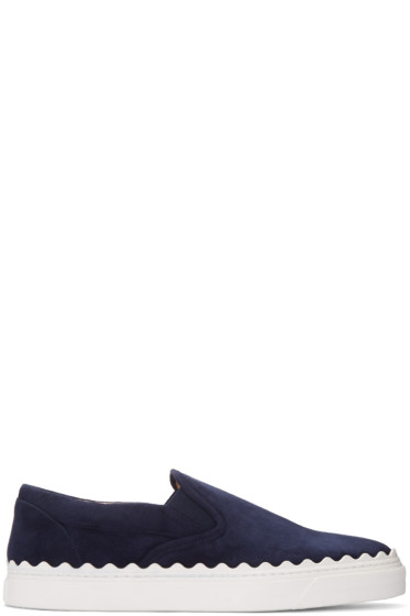 Chloé - Navy Suede Ivy Slip-On Sneakers