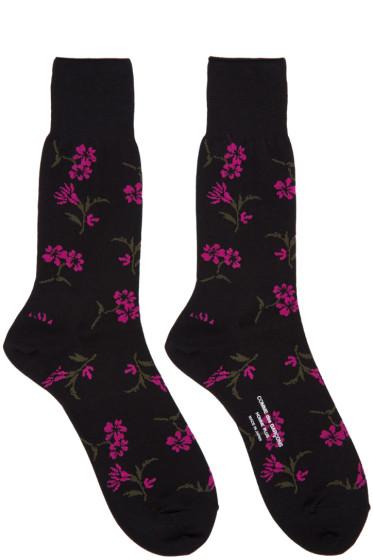 Comme des Garçons Homme Plus - Black & Pink Floral Socks