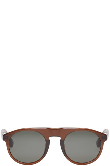 Dries Van Noten - Brown Linda Farrow Edition Flat-Top Sunglasses