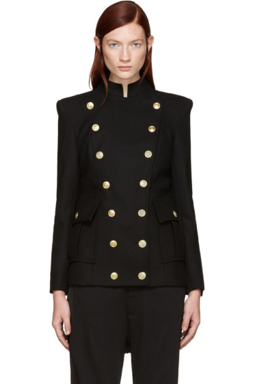 Pierre Balmain - Black Wool Gold Buttons Blazer