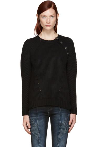 Pierre Balmain - Black Button Trim Sweater