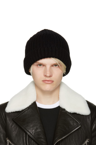 Neil Barrett - Black Ribbed Beanie
