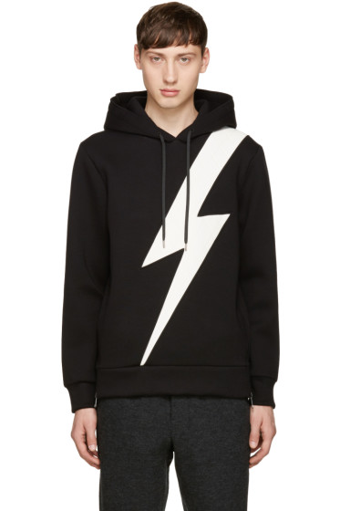 Neil Barrett - Black Single Thunderbolt Hoodie