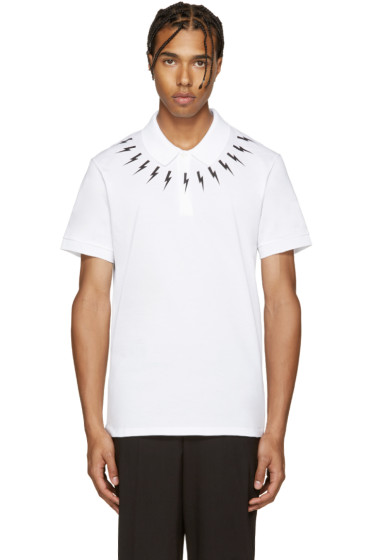 Neil Barrett - White Thunderbolt Polo