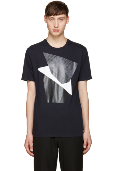 Neil Barrett - Navy Modernist Blocking T-Shirt