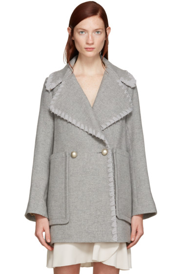 See by Chloé - Grey Double-Breasted Wool Coat