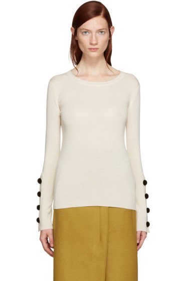 See by Chloé - Beige Button Sleeve Sweater