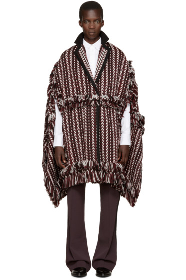 Burberry - Burgundy Fringed Poncho