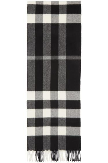 Burberry - Black & White Cashmere Check Scarf