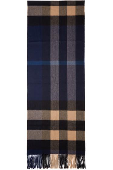 Burberry - Indigo & Beige Cashmere Check Scarf