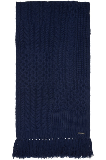 Burberry - Navy Cable Knit Scarf