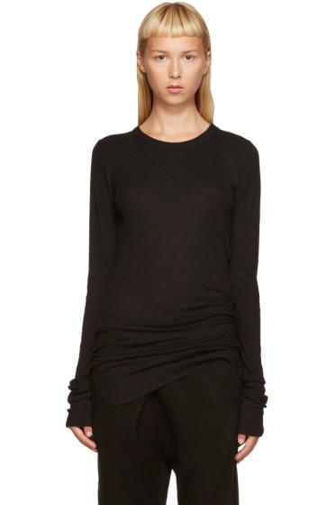 Ann Demeulemeester - Black Ribbed T-Shirt
